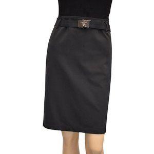 Prada Knee Length Pencil Skirt Buckle Belt 42
